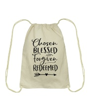 Chosen Blessed Forgiven Redeemed Drawstring Bag thumbnail