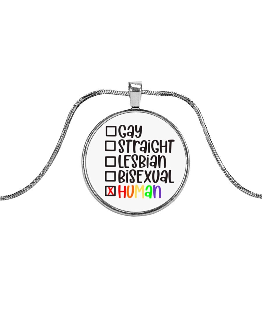 I am human Metallic Circle Necklace