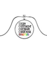I am human Metallic Circle Necklace front