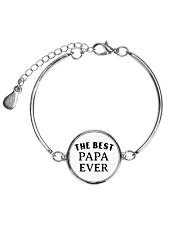 The best papa ever  Metallic Circle Bracelet front