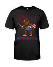 Bigfoot Sasquatch America Fireworks 4 Classic T-Shirt front