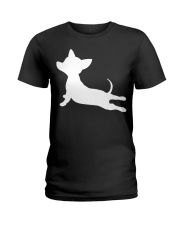 CHIWEENIE YOGA FITNESS GIFT Chihuah Ladies T-Shirt thumbnail