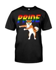 Flossing Akita Inu Lesbian Bisexual Classic T-Shirt front