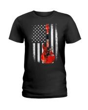 Bass Guitar American Flag USA Patriot Ladies T-Shirt thumbnail
