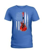 Bass Guitar American Flag USA Patriot Ladies T-Shirt front