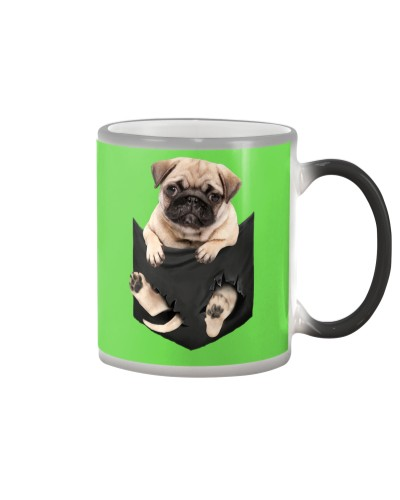 -Pug Dog Breed in the pocket  face mask