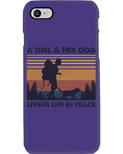 A girl her dog living life in peace vintage retro