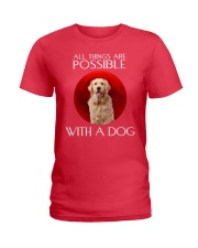 All thing are possible with a dog sunset t-shirt Ladies T-Shirt thumbnail