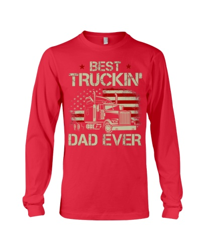 Best Truckin Dad Ever Vintage American Flag