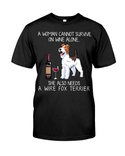Funny Fox Terrier Women and Wine T-Shirt