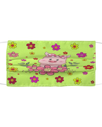 Pig And Flowers Cloth Face Mask