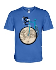 WORLD MAP BIKE  V-Neck T-Shirt thumbnail