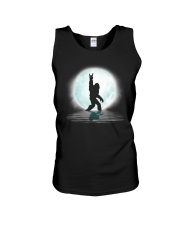 Funny bigfoot rock and roll under the moon Unisex Tank thumbnail