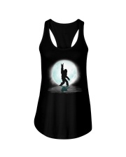 Funny bigfoot rock and roll under the moon Ladies Flowy Tank thumbnail
