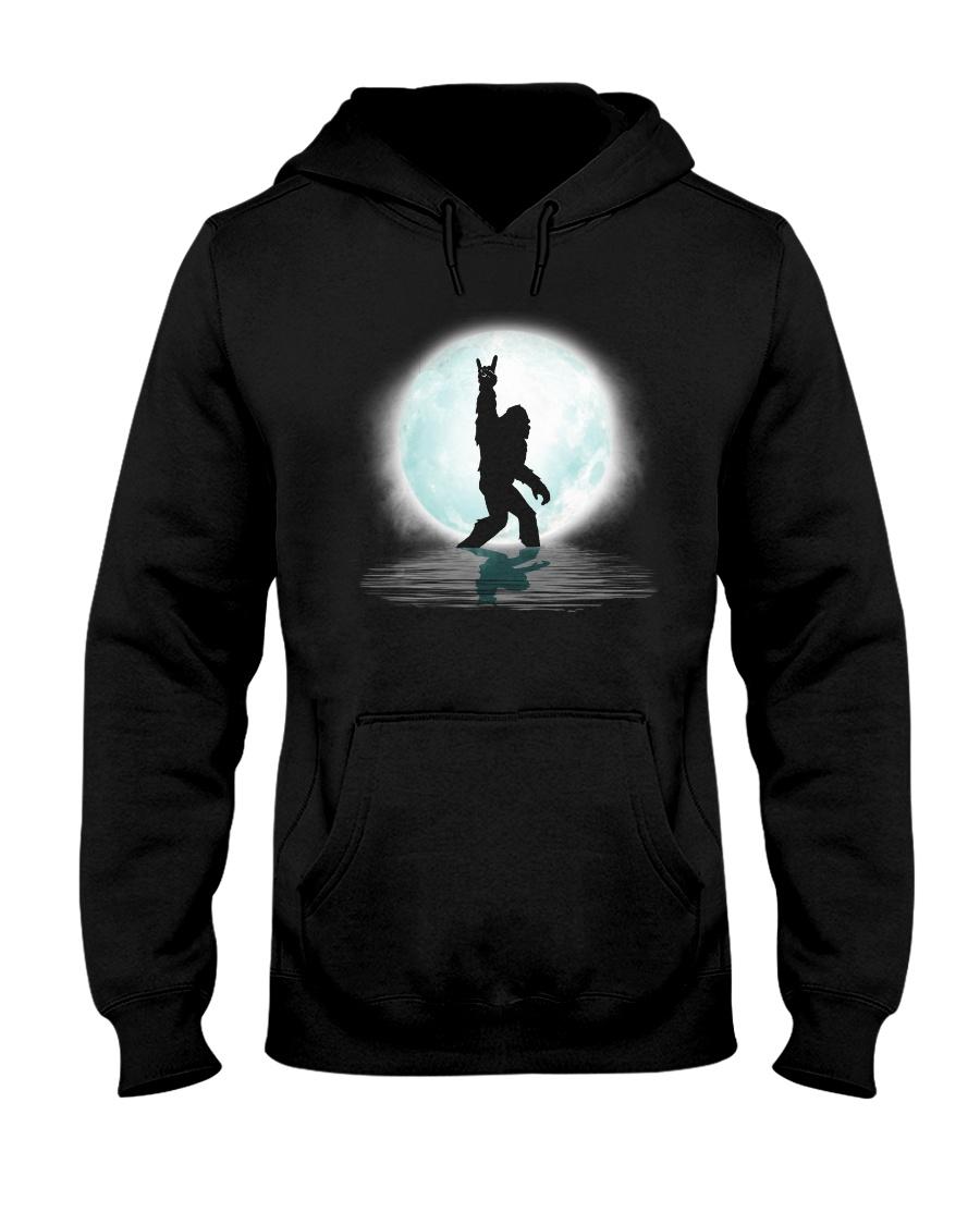 Funny bigfoot rock and roll under the moon Hooded Sweatshirt