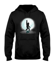 Funny bigfoot rock and roll under the moon Hooded Sweatshirt front