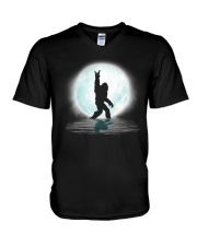 Funny bigfoot rock and roll under the moon V-Neck T-Shirt thumbnail