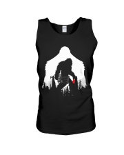 Bigfoot Disc golf in the forest Unisex Tank thumbnail