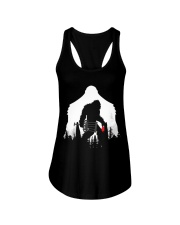 Bigfoot Disc golf in the forest Ladies Flowy Tank thumbnail