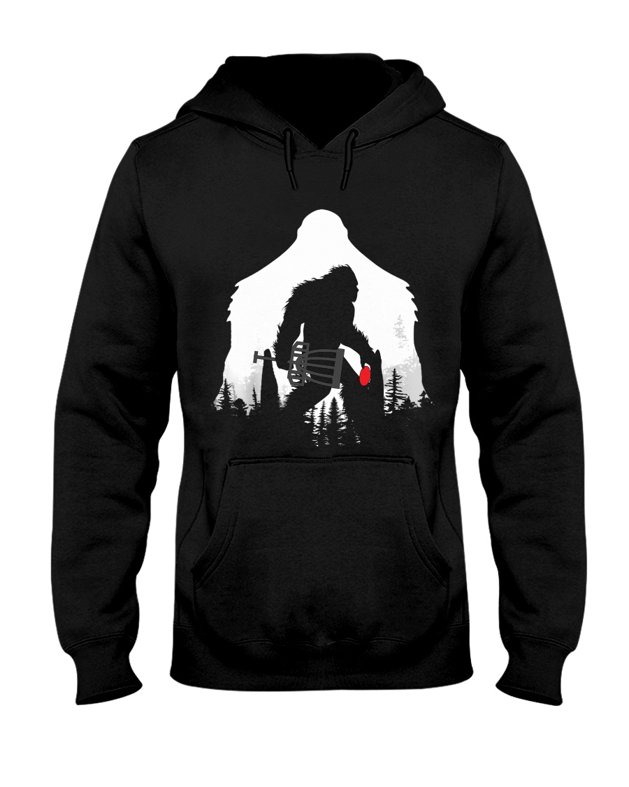 Bigfoot Disc golf in the forest Hooded Sweatshirt
