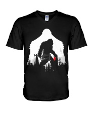 Bigfoot Disc golf in the forest V-Neck T-Shirt thumbnail