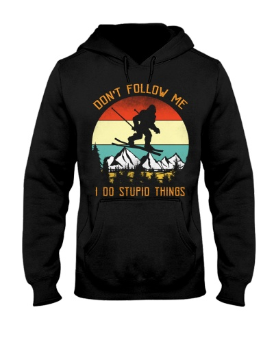 Bigfoot Skiing Don't Follow Me I Do Stupid Things
