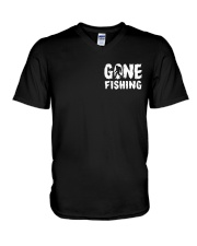 Bigfoot go fishing two side V-Neck T-Shirt thumbnail