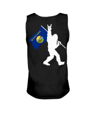 Bigfoot rock and roll Montana flag - Back side Unisex Tank thumbnail