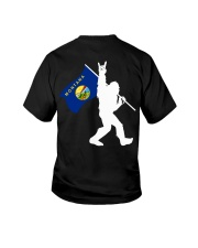 Bigfoot rock and roll Montana flag - Back side Youth T-Shirt thumbnail