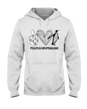 Peace - Love - Penguins Hooded Sweatshirt front