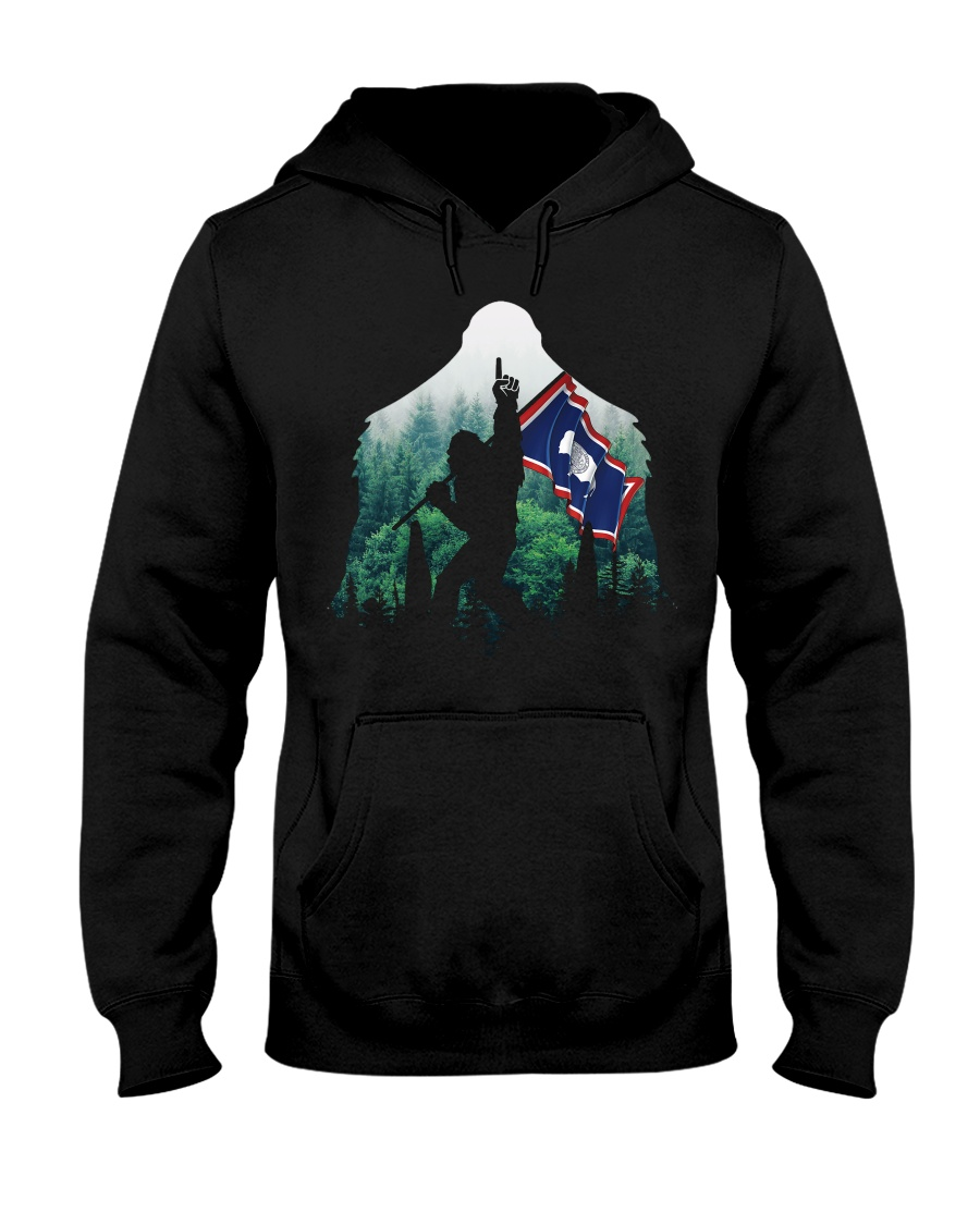 Bigfoot n1 Wyoming flag in the forest Hooded Sweatshirt