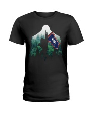 Bigfoot n1 Wyoming flag in the forest Ladies T-Shirt thumbnail