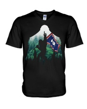 Bigfoot n1 Wyoming flag in the forest V-Neck T-Shirt thumbnail