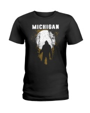 Michigan Bigfoot under the moon Ladies T-Shirt thumbnail
