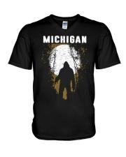 Michigan Bigfoot under the moon V-Neck T-Shirt thumbnail