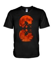 Bigfoot moon V-Neck T-Shirt thumbnail