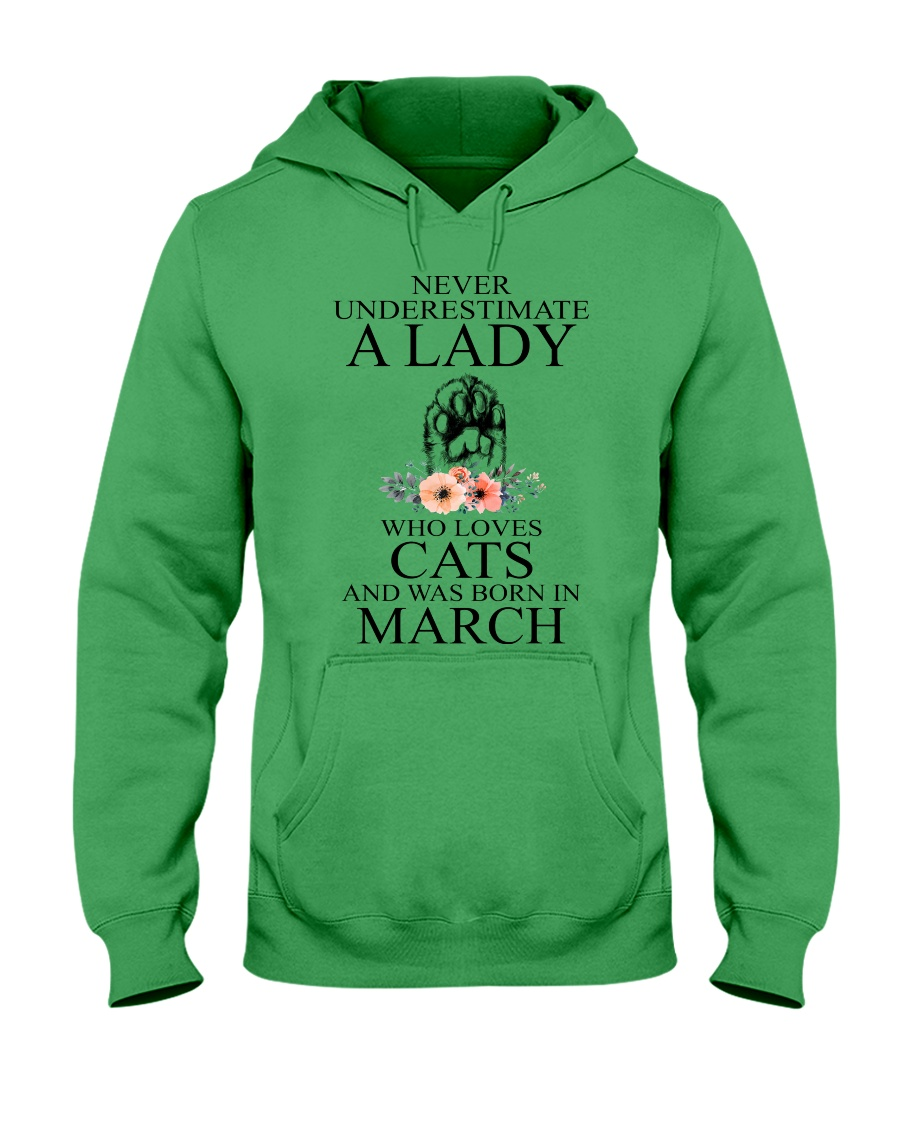 A lady who loves cats and was born in March Hooded Sweatshirt