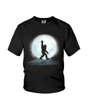 Bigfoot middle finger under moon Youth T-Shirt thumbnail
