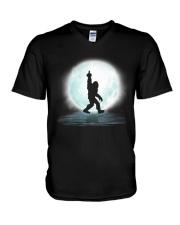 Bigfoot middle finger under moon V-Neck T-Shirt thumbnail