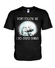 Scuba driving under the moon V-Neck T-Shirt thumbnail