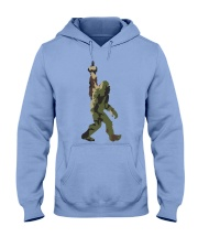 Bigfoot middle finger Camo Hooded Sweatshirt front