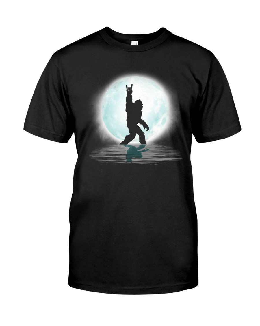 Funny bigfoot rock and roll under the moon Classic T-Shirt