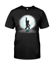 Funny bigfoot rock and roll under the moon Classic T-Shirt front