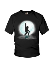 Funny bigfoot rock and roll under the moon Youth T-Shirt thumbnail