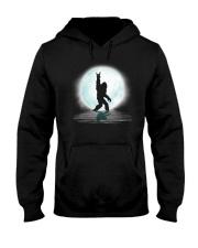 Funny bigfoot rock and roll under the moon Hooded Sweatshirt thumbnail