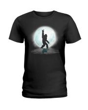 Funny bigfoot rock and roll under the moon Ladies T-Shirt thumbnail