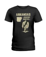 Arkansas - Bigfoot hunter Ladies T-Shirt thumbnail
