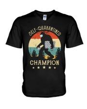 Self quarantined champion V-Neck T-Shirt thumbnail