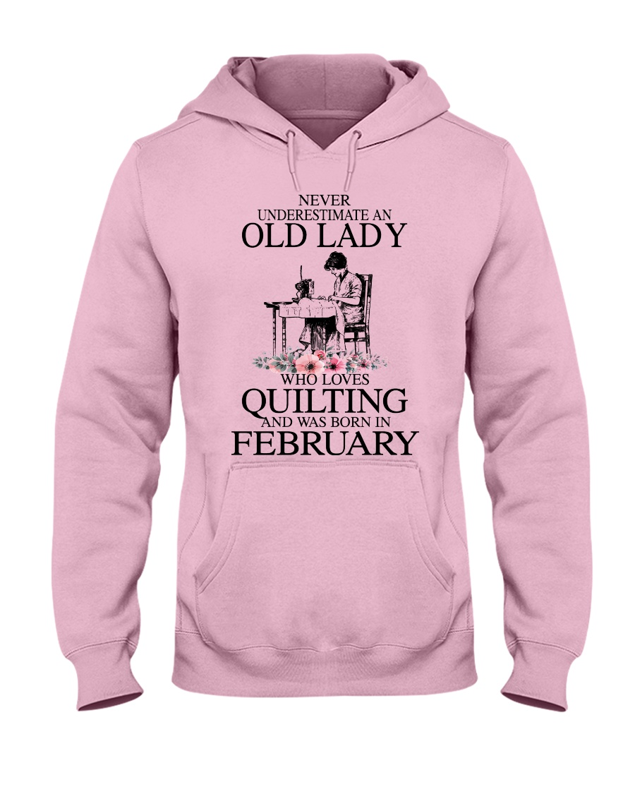 February quilting old lady Hooded Sweatshirt