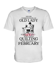 February quilting old lady V-Neck T-Shirt thumbnail